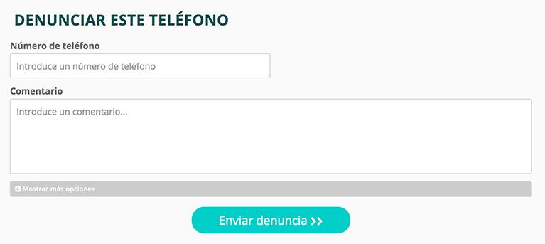 formulario para denunciar el teléfono spam